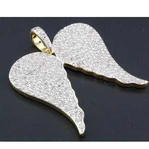 Other - Real Diamond Angel Wing Pendant Solid Silver Gold